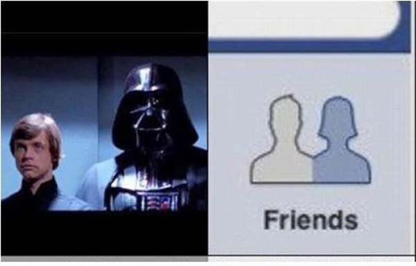 Luke Skywalker y Darth Vader y del otro lado el logotipo de Friends del Facebook