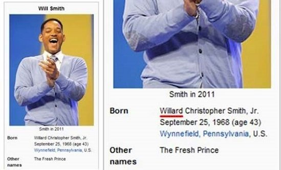 Will Smith en Wikipedia, se llama Willard