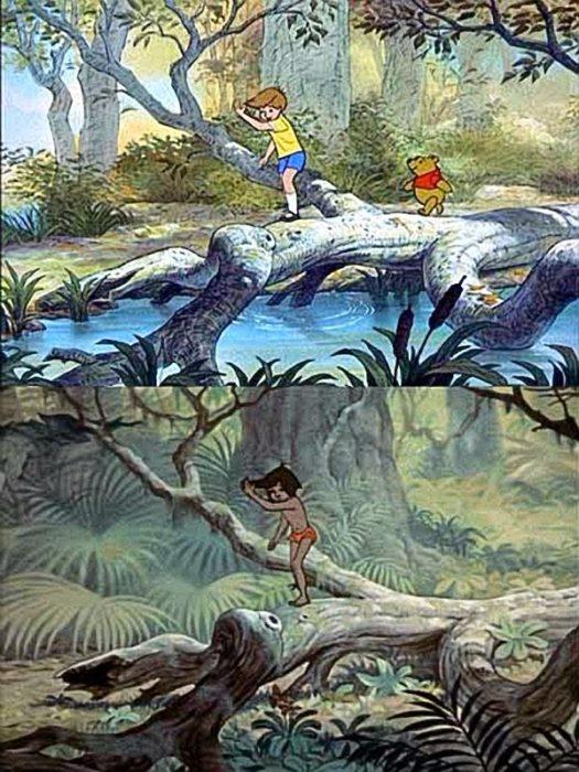 Imagen arriba de Winnie Pooh y la de abajo de El Libro de la Selva; es el mismo paisaje sólo que arriba es en un bosque y abajo es en una selva