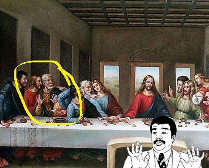 """Cuadro de la Última Cena de Leonardo Da Vinci en donde uno de los discípulos hace un gesto con las manos como el meme de """"ay sí"""""""