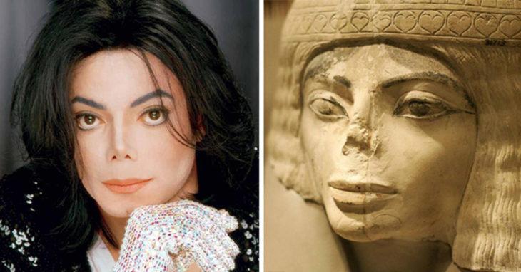 Una fotografía de Michael Jackson a la izquierda y una foto de una escultura egipcia a la derecha