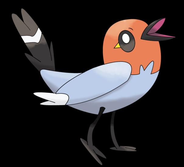 Dibujo de un pájaro y su ojo se asemeja a un pingüino
