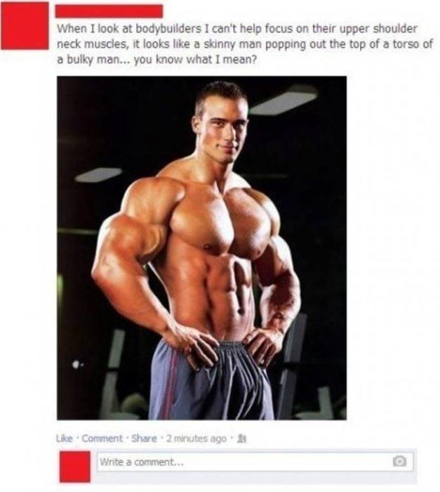 Foto de Facebook de un hombre muy musculoso