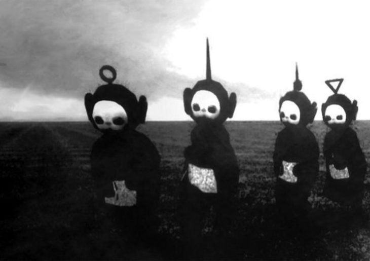 Teletubbies en blanco y negro