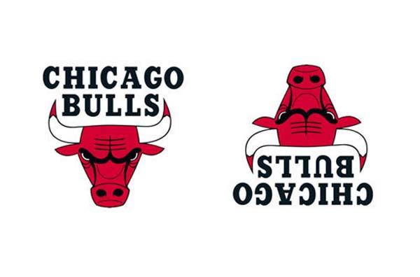 Logotipo de Chicago Bulls normal y boca abajo