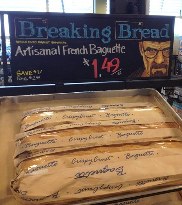 Creativo anuncio de supermercado para vender pan
