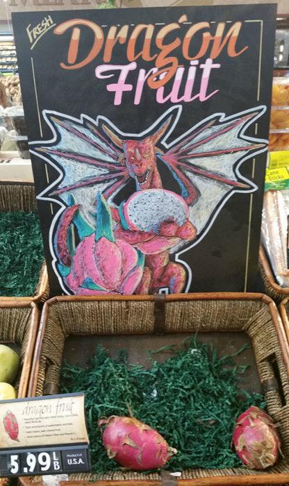 Anuncio de supermercado con dibujo de dragón