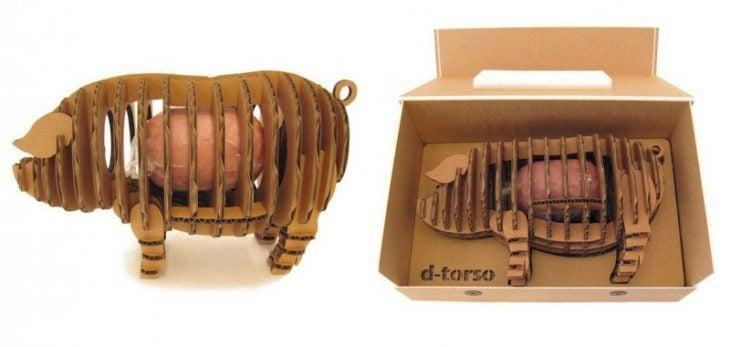 Empaque forma de cerdo para producto porcino