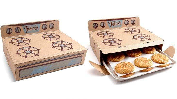 empaque de galletas que parece una estufa