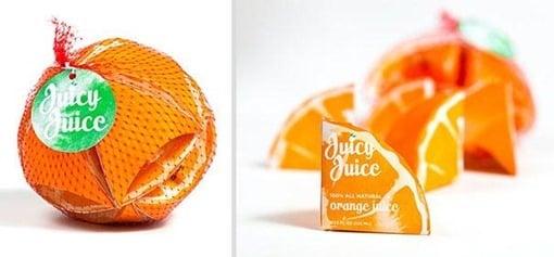 Empaque de jugo que simula ser una naranja