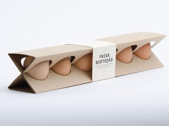 empaque triangular para huevos
