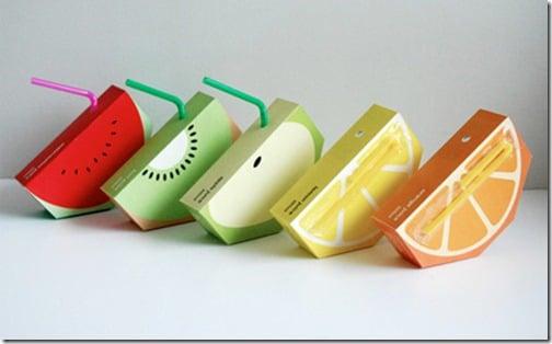 empaque de jugos que simulan rebanadas de fruta