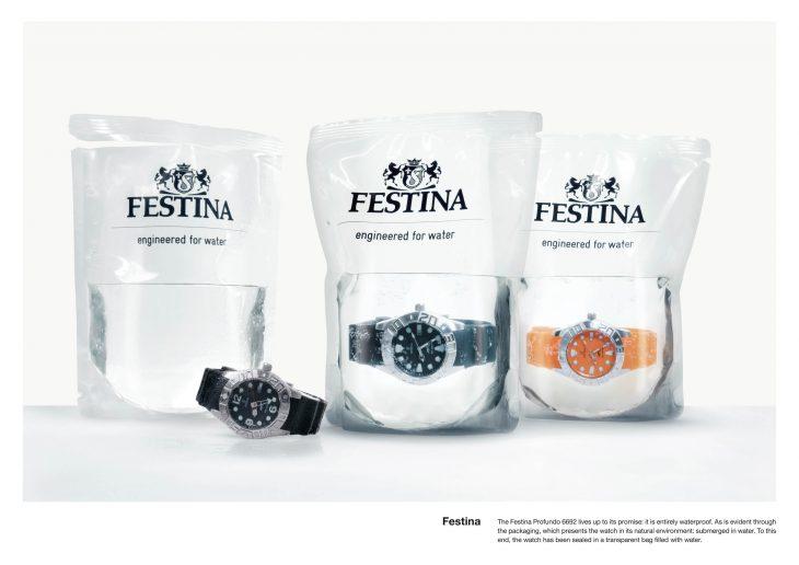 Empaque de reloj a prueba de agua, con reloj en agua