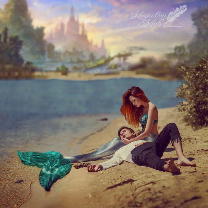 """Fotografía de """"Mágico Kiev"""" del cuento de la Sirenita cuando rescata al príncipe"""