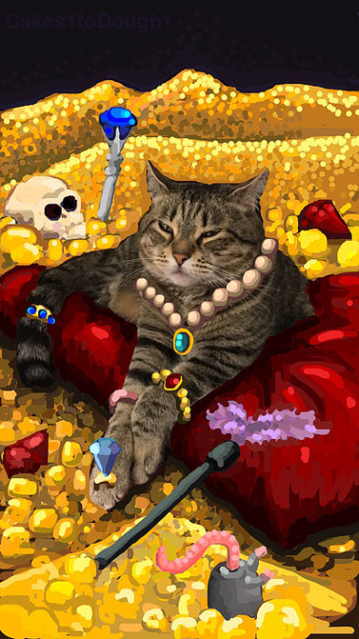 snapchat gato rodeado de oro