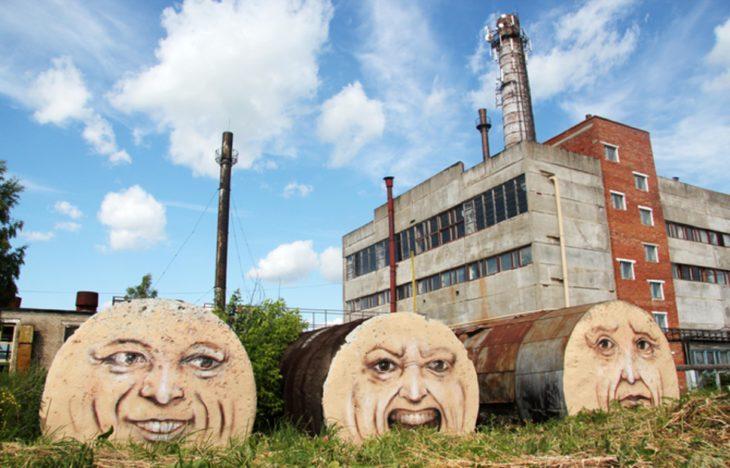 Graffitti de ductos con rostros