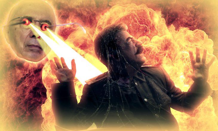 Sale fuego de los ojos de Henrique Mirelles y quema a un hombre