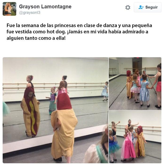 Maestra de clase de danza tuiteó sobre la niña que fue vestida de hot dog y dijo: nunca había admirado a alguien tanto