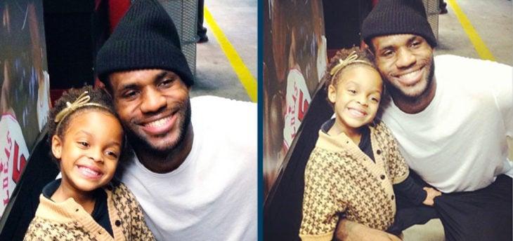 Fotos recortadas: En la primera foto se ve James Lebron con suhija, en la foto completa se ve que su hija está agarrando su entrepierna