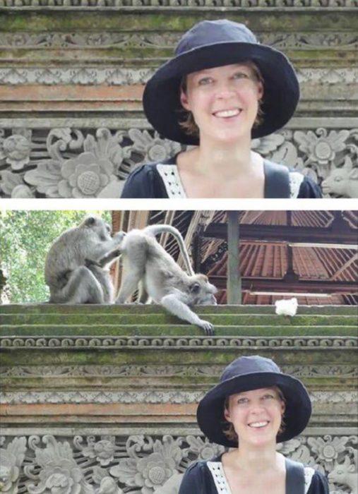 Fotos recortadas: Foto de mujer, pero en la completa salen unos monos atrás que uno le está rascando el trasero al otro