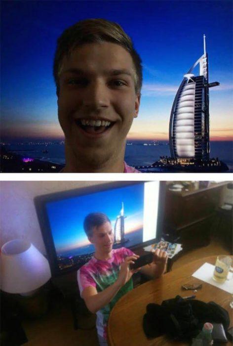Fotos recortadas: Se ve un hombre posando en un paisaje, pero en realidad está frente a una pantalla