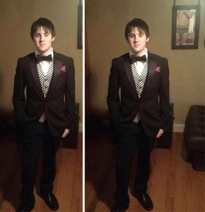 Fotos recortadas: En la foto recortada se ve un joven con traje, en la foto completa se ve un espejo y quien le está tomando la foto está en calzones