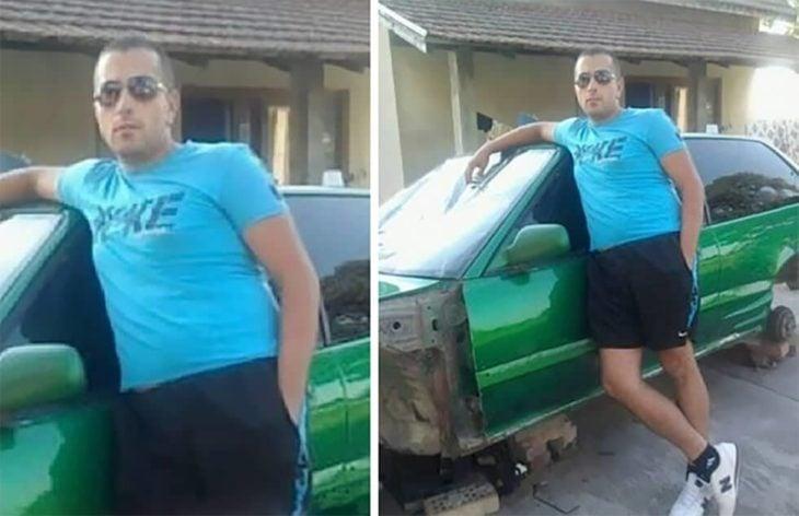 Fotos recortadas: Un hombre posando frente a un carro verde, en la foto completa se ve el carro desmantelado