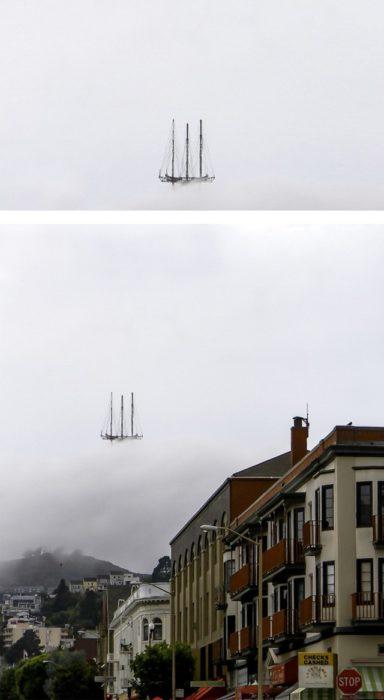 Fotos recortadas: En la primera foto parece que es un barco en medio de la neblina, pero realmente es una antena tapada por las nubes