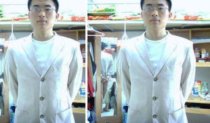 Fotos recortadas: La foto recortada se ve un hombre con traje, en la foto completa se ve que no trae pantalones