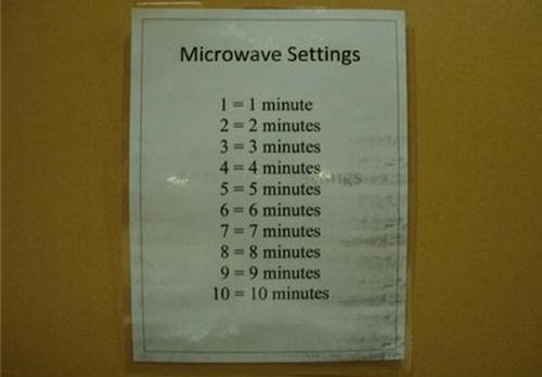 Letrero que explica cómo usar un microondas