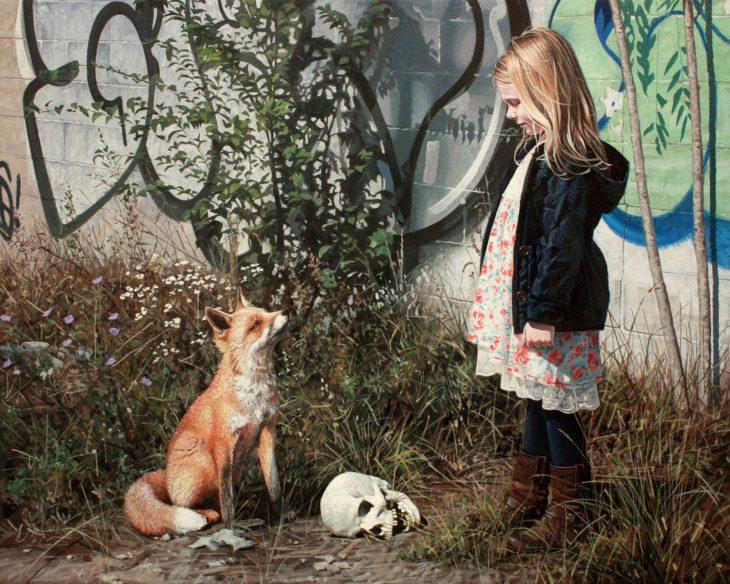 pintura hiperrealista niña craneo y zorro