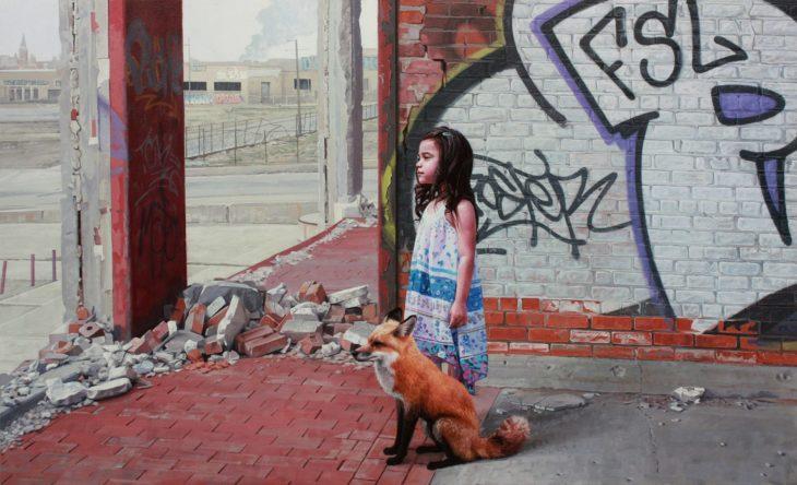 pintura niña y zorro en la ciudad