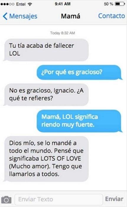 Mensaje entre padres e hijos: Mamá manda mensaje de: tu tía acaba de fallecer LOL