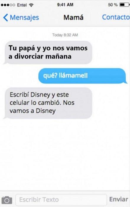 Mensaje entre padres e hijos: Mamá manda mensaje diciendo que su papá y ella se van a divorciar, en lugar de decir Disney