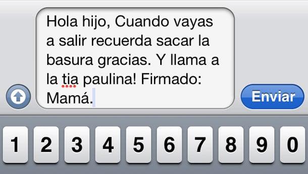 Mensaje entre padres e hijos: Una mamá envía un mensaje de texto pero lo firma como si fuera correspondencia