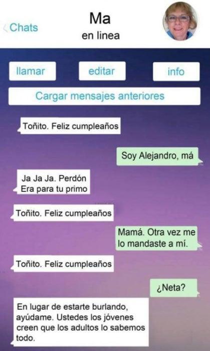 Mensaje entre padres e hijos: Mamá se equivoca de conversación y le manda a su hijo tres veces una felicitación para Toñito, su primo