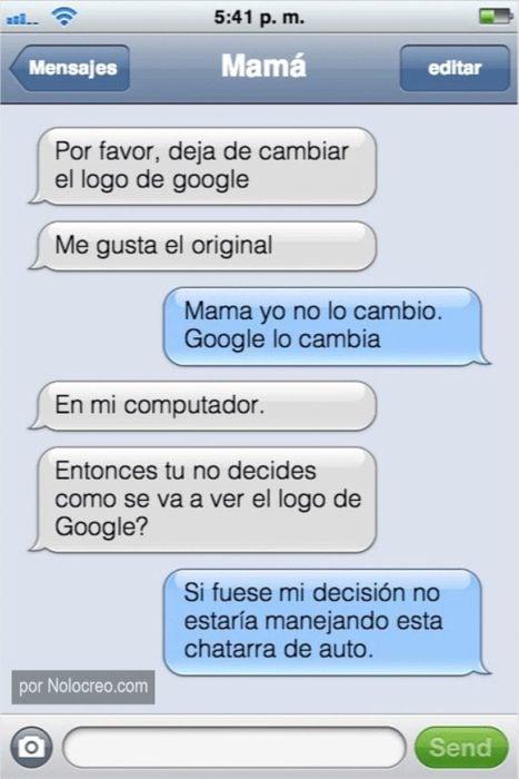 Mensaje entre padres e hijos: Mamá le pide a su hijo que deje de cambiar el logo de Google
