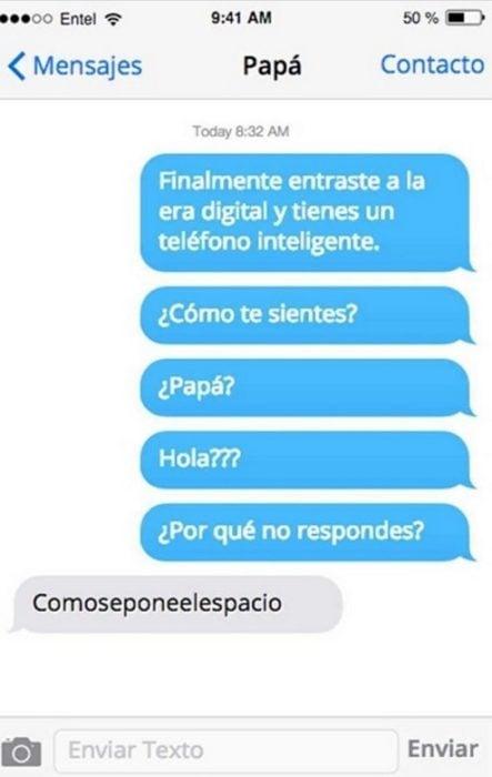 Mensaje entre padres e hijos: Papá manda mensaje comoseponeelespacio