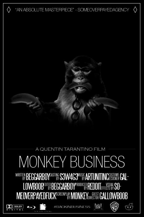 Cartel de película con mono en la portada