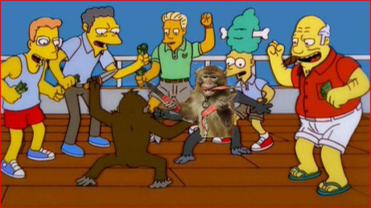mono con cuchillos en los simpson