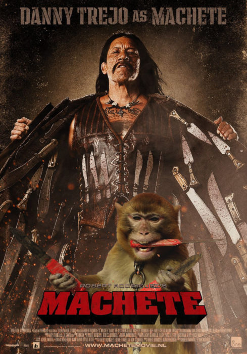 cartel de pelicula machete, con mono sosteniendo cuchillos