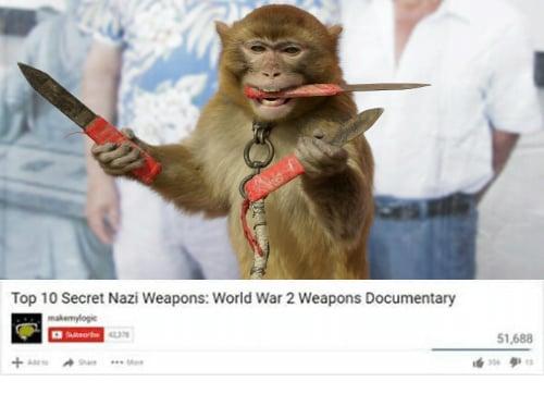mono con cuchillos en las manos y hocico