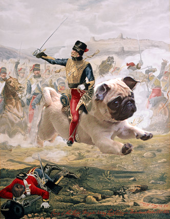 montaje de cachorro pug en pintura francesa