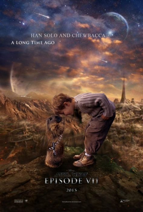 Fotomontaje de cartel de star wars niño y castor