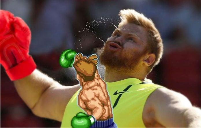 Foto manipulada de deportista lanzando bala