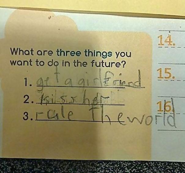 Respuesta de niño, lo que quiere hacer en el futuro