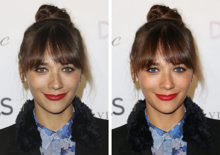 Comparación de ojos de color en Rashida Jones