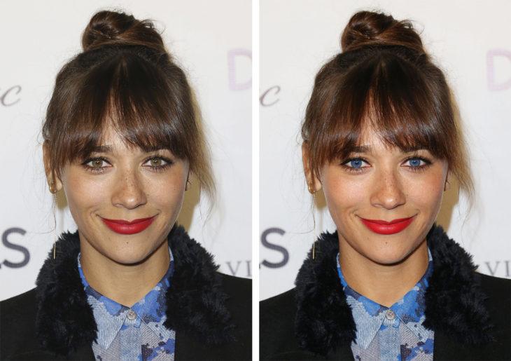 Comparación de ojos de color en Rashida Jones