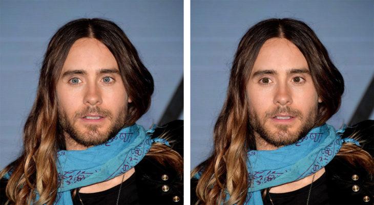 Comparación de ojos de color en Jared Leto