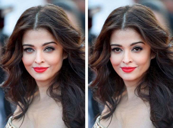 Comparación de Aishwarya rai en ojos de color